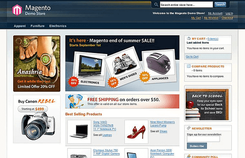 Magento online demo store