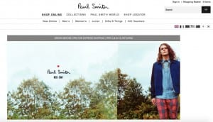 http://www.paulsmith.co.uk/uk-en/shop/ has a clean-cut design that gives it a high end, professional feel.