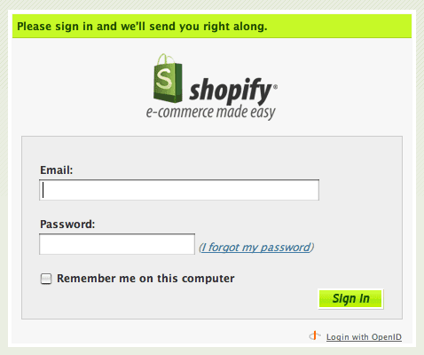 The login screen of Shopify
