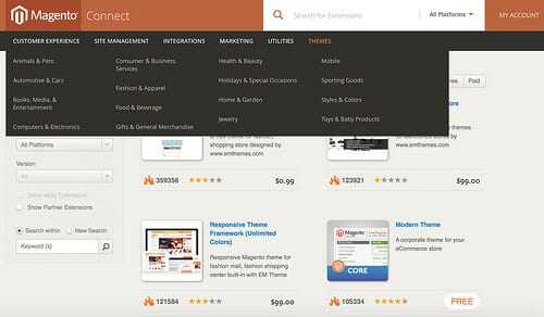 Example themes from the Magento Connect Store